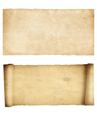 Set of scroll and parchment isolated on white. Vintage paper texture 3d illustration.