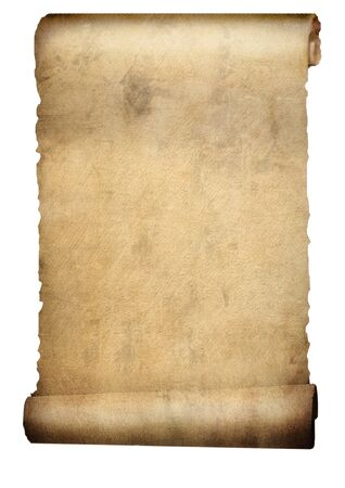 Old paper scroll or parchment isolated on white 3d illustration