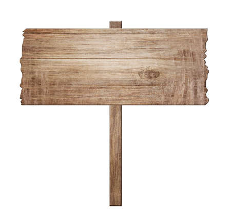 Old wooden sign isolated on white background. Vintage advertising for banner design. 3d illustration