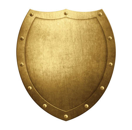 Gold metal medieval shield isolated on white. 3d illustration Archivio Fotografico