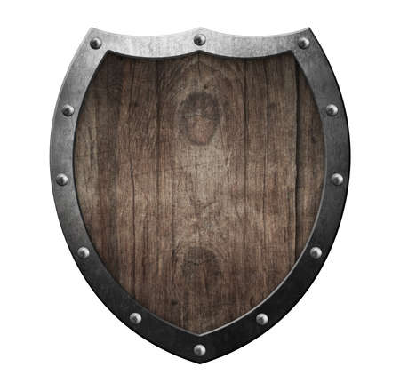 Wooden medieval shield with a metal frame isolated 3d illustration. Standard-Bild