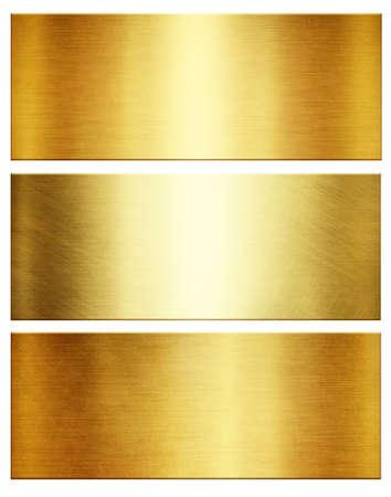 Gold of polished metallic textures. Shiny metal collection Standard-Bild