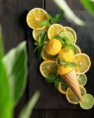 lemon sorbet gelato and waffle cone on lemon and lime slices. lemon ice cream on a slate board on a wooden background. Bright yellow citrus ice cream with mint leaves. A plant in the foreground in a blur