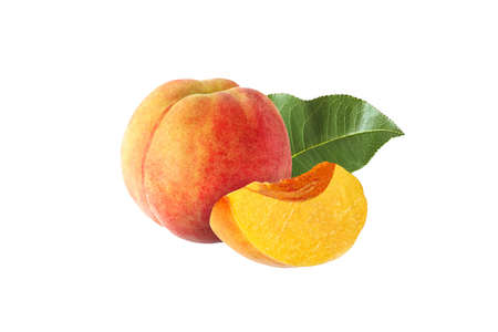 whole and half peach with leaf isolated on white background