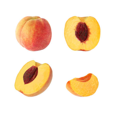 Collection of whole and cut peach fruits isolated on white background