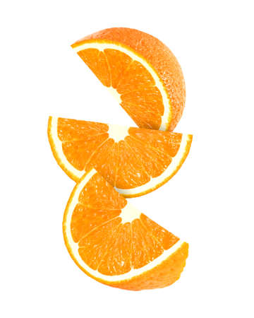orange peel: hanging, falling and flying piece of orange fruits isolated on white background with clipping path