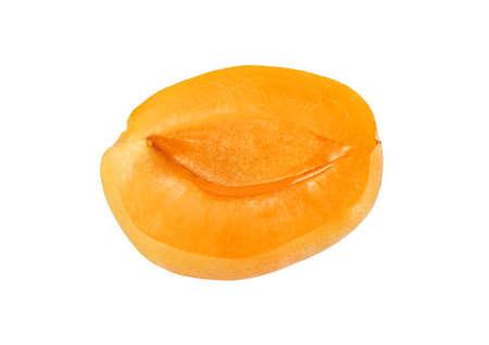 velvety: half apricot without stone isolated on white background