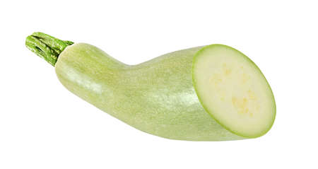 cut light green zucchini isolated on white background
