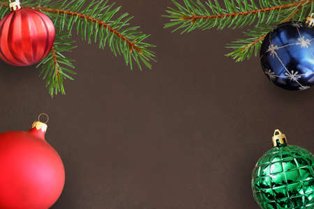 dull: Dark background with Christmas fir branch, red wavy dull, green ribbed and blue ball