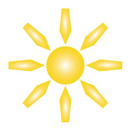 黄色の太陽とベクトル イラストの白い背景の上の 5 先の尖った光線