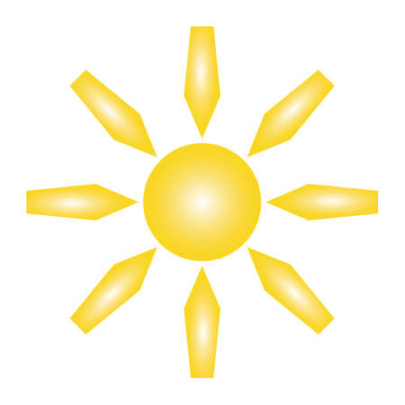 yellow sun and five-pointed rays on white background of vector illustrations