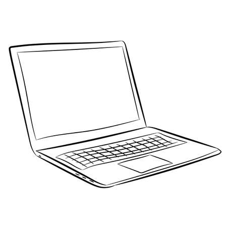 Laptop of vector contour black and white illustrations