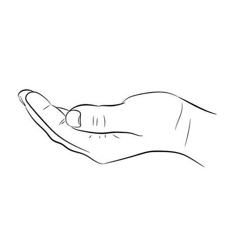 Mendier la main sur fond blanc d'illustrations vectorielles