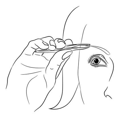 plucking: Woman plucking eyebrow on white background of vector illustrations