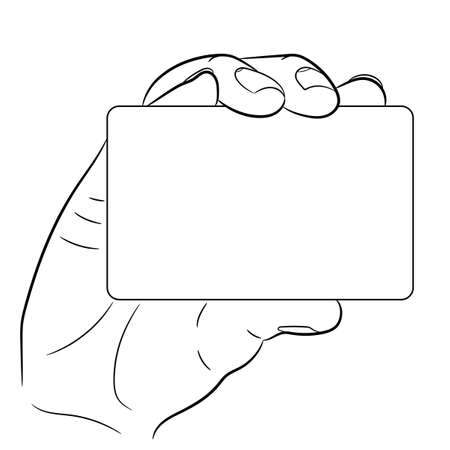 hand holding a plastic card on white background of vector illustrations
