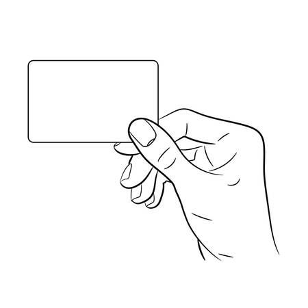 hand holding playing card: Hand holding a card on white background of monochrome vector illustrations Illustration