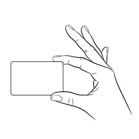 Hand holding a card on white background of monochrome vector illustrations 矢量图像