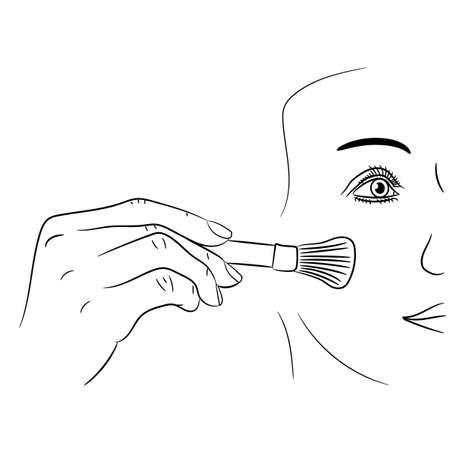 girl gets rouge brush on white background of vector illustrations