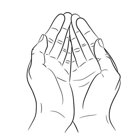 handful: Two open empty hands. Asking gesture. Monochrome vector illustrations.