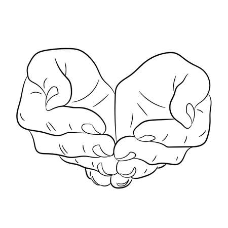 Two open empty hands. Asking gesture. Monochrome vector illustrations.