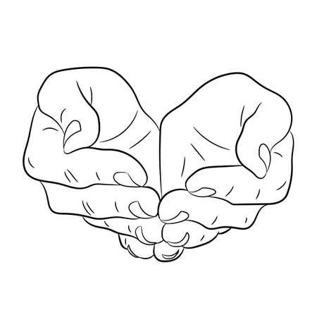 Dwa otwarte puste ręce. Zadawanie gest. ilustracje Monochromatyczny wektorowych.