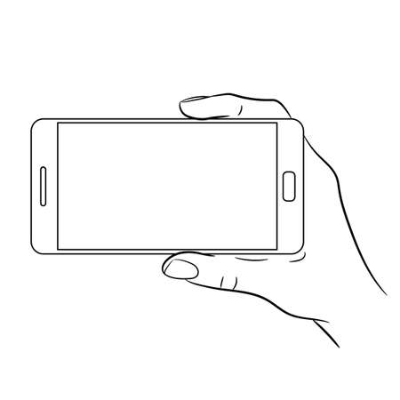 holding smart phone: hand holding a smart phone on white background of monochrome vector illustrations Illustration