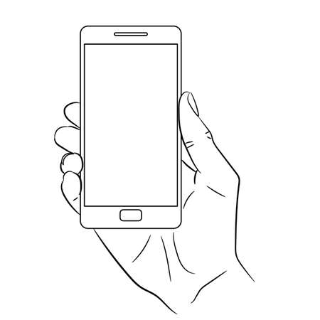 holding smart phone: hand holding a smart phone vertically on white background of monochrome vector illustrations