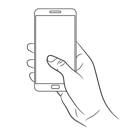 female hand holding a smart phone on white background of monochrome vector illustrations