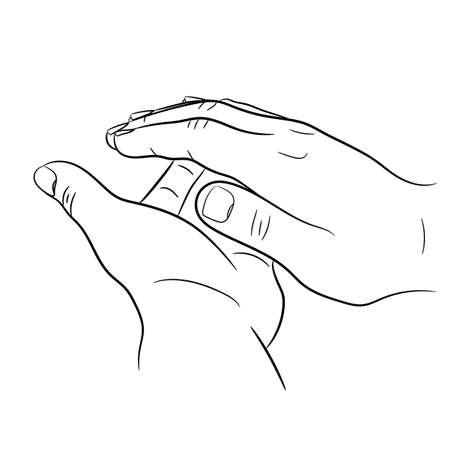 clap hands on white background of monochrome vector illustrations Ilustração