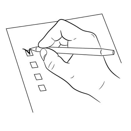 hand writing: hand and pen mark on checklist on white background of monochrome vector illustrations