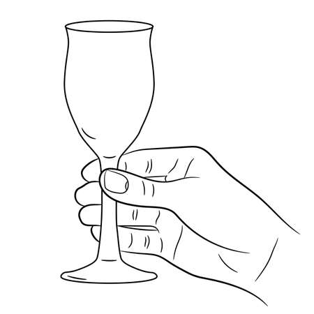 sommelier: hand holding a wine glass on white background of monochrome vector illustrations