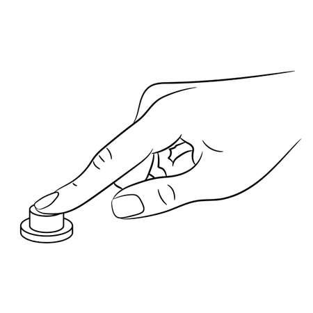 female finger? press button of monochrome vector illustration