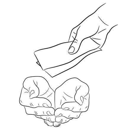 taking notes: hand, giving and taking money banknotes of monochrome vector illustration