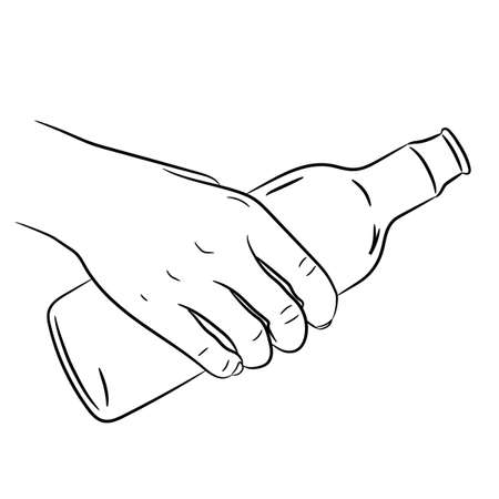man holding transparent: hand holding a glass bottle of monochrome vector illustration