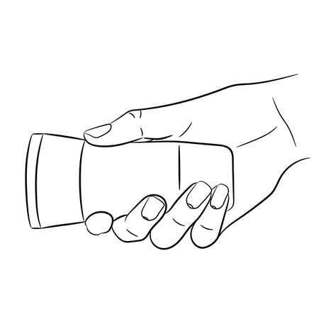 woman hand holding a flashlight of monochrome vector illustration Vectores