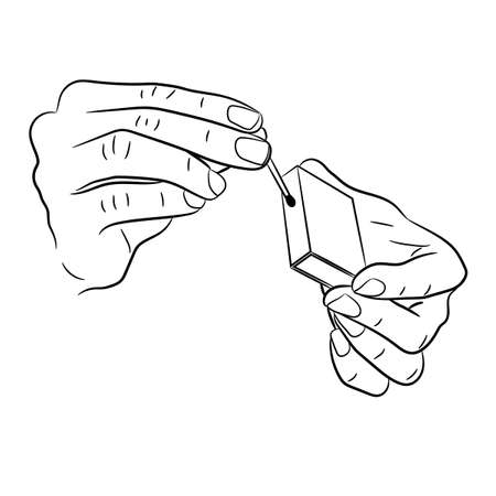hand holding a match and box of monochrome vector illustration