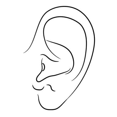 human ear of monochrome vector illustration