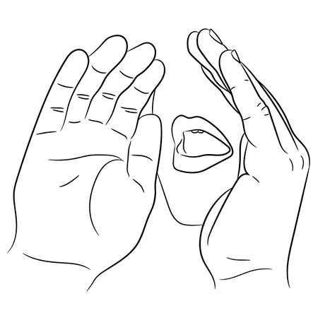 mond open en met de hand naast elkaar gelegd