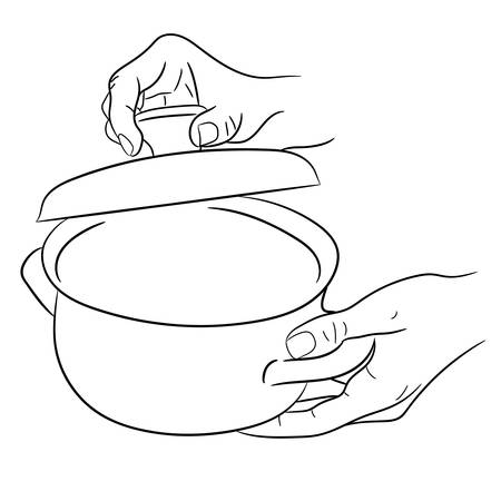 hands holding a saucepan and cover of vector illustrations