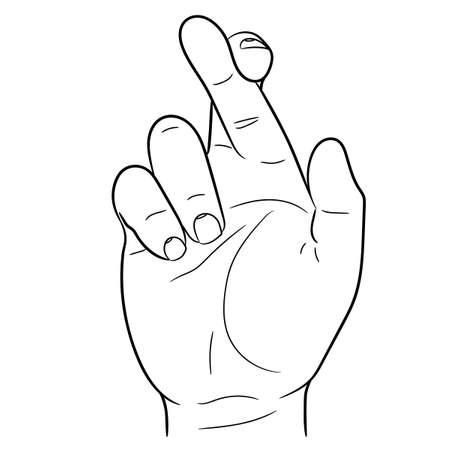Hand met gekruiste vingers van vectorillustratie