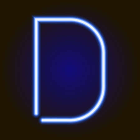photograph regarding D&d Printable Minis identified as solitary gentle blue neon letter D of vector example