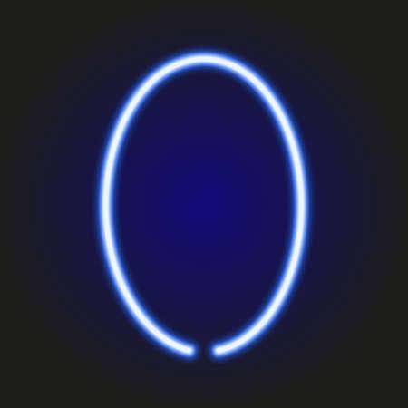 single light blue neon letter O of vector illustration