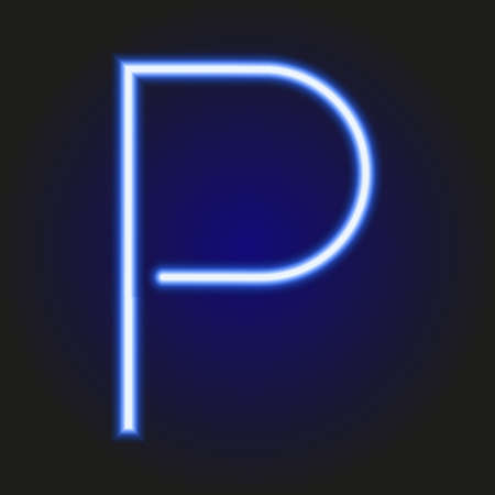 single light blue neon letter P of vector illustration