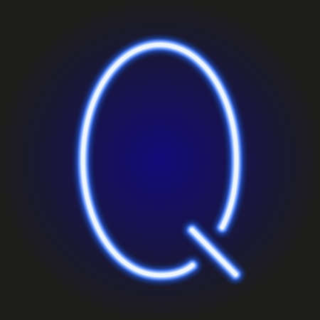 single light blue neon letter Q of vector illustration