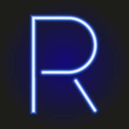 single light blue neon letter R of vector illustration