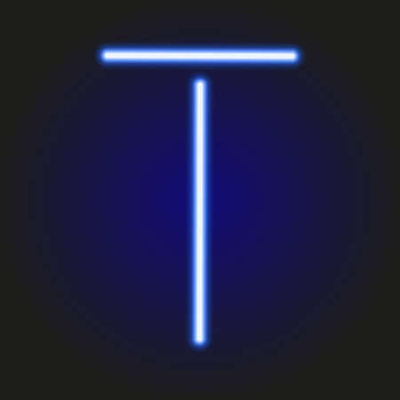 t bulb: single light blue neon letter T of vector illustration