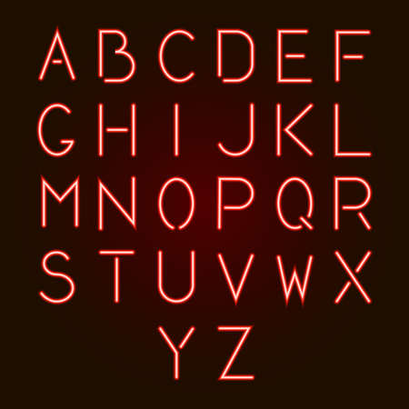 Glowing red neon alphabet letters from A to Z. Vector illustration. Ilustração