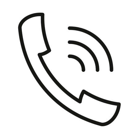 icon ringing handset black contour on a white background of vector illustration