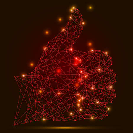 Abstract vector image hand raised thumb up of polygonal red lines and glowing stars on a dark background