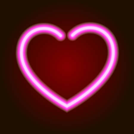 Pink neon glowing heart symbol of love on dark background of vector illustration Illustration